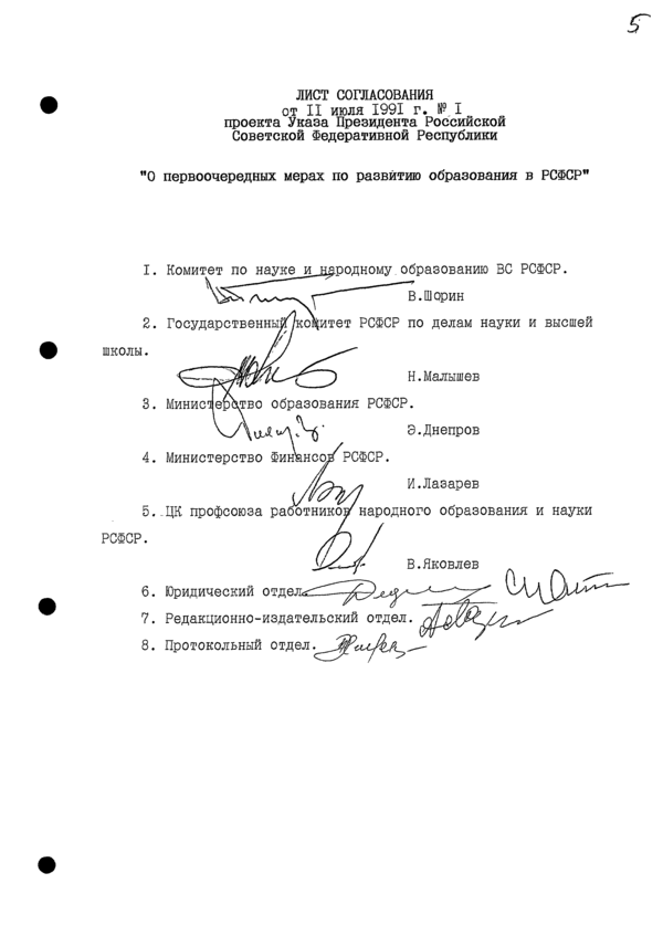 Указ Президента РСФСР № 1 (лист согласования)